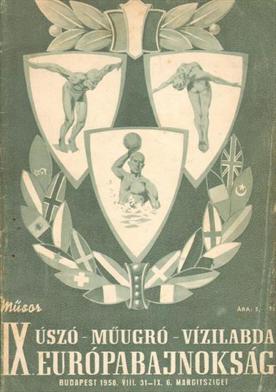 OFFICIAL PROGRAM 11th EUROPEAN SWIMMING WATERPOLO CHAMPIONSHIP 1958