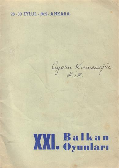 OFFICIAL PROGRAMME XXI. BALKAN GAMES ATHLETICS ANKARA 1962