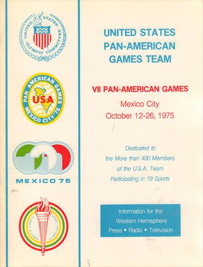 MEDIA GUIDE UNITED STATES PAN-AMERICAN GAMES TEAM 1975