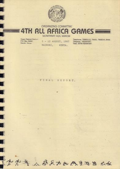 OFFICIAL REPORT 4th ALL AFRICA GAMES KENYA 1987