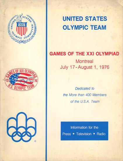 MEDIA GUIDE UNITED STATES OLYMPIC TEAM 1976