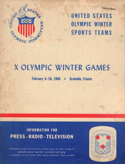 MEDIA GUIDE UNITED STATES OLYMPIC TEAM 1968 GRENOBLE / FRANCE (Winter Games)