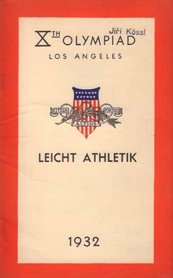 Xth OLYMPIAD LOS ANGELES 1932. LEICHT ATHLETIK . OFFICIAL PROGRAM ATHLETICS