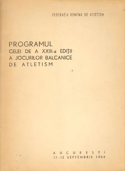 PROGRAMUL A JOCURILOR BALCANICE DE ATLETISM 1964 (Track and Field Balkan Games 1964)